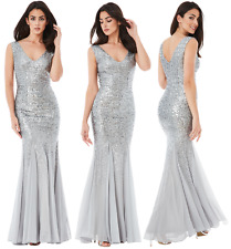 Goddiva Sequin Chiffon Inserts Full Length Maxi Evening Dress Bridesmaid Prom UK 16 Silver