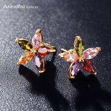 18K oro lleno de color multi Flor Aretes Hecho con Cristales de Swarovski