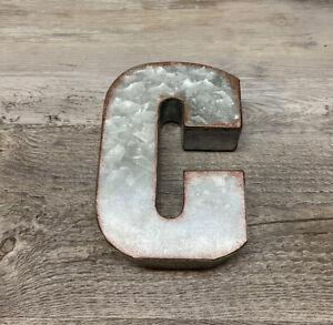 """Farmhouse Galvanized 3-D Letter """"C"""" 5X7 in Hobby Lobby"""