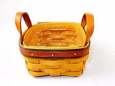 Longaberger Tea Basket, 2 Leather Handles, w/Insert, 5x5 ~ Signed 1999 ~ #LB-02