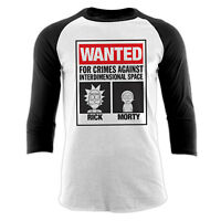 Official RICK AND MORTY T Shirt Wanted Poster Baseball Long Sleeve NEW S M L XL