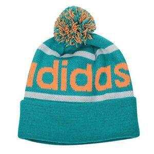 NEW Adidas Originals Mercer Ballie Pom Beanie Winter Hat Cap Aqua Orange Q45349