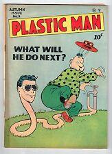 Quality PLASTIC MAN #9 Sept 1947 vintage comic VG+ condition