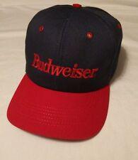 BUDWEISER Baseball Cap Blue Red Bud SNAPBACK ADJUSTABLE HAT USA Beer Brew EUC