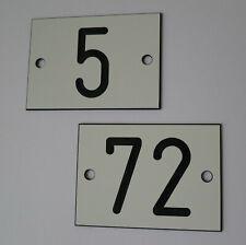 1 St. PVC Schild Zahlenschilder 70mm x 50mm Kleingarten Campingplatz weiß / schw