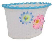 GIRLIE KIDDIES BIKE WICKER BASKET WHITE, PINK & BLUE CUTE FLOWERS GREAT PRESENT