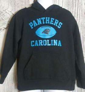 NFL Team Apparel Kids Carolina Panthers Black Pullover Hooded Sweatshirt Med 5/6