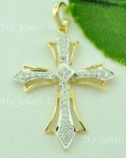 14k Solid white & Yellow gold Natural diamond cross pendant 0.21 ct