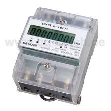 PORTOFREI digitaler Drehstromzähler Stromzähler S0 LCD 20(80)A f. DIN Hutschiene
