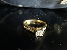 0.5ct Carat Princess Cut Diamond 18k Yellow Gold Engagement Ring Certified $3000