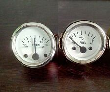 "White Face 2 ""/  52mm  Electrical  Fuel Gauge + Ampere Gauge 12V negative ground"