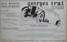 PUBLICITE GEORGES IRAT VOITURE CIRCUIT MAROCAIN TOUL NANCY ROSSI DE 1927 AD PUB