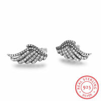 Majestic Feathers Stud Earrings -Solid 925 Sterling Silver CZ Studs + Gift Box
