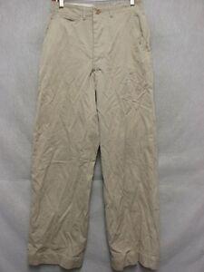 D1195 Military 40's Beige Button Fly Pants Men 28x29