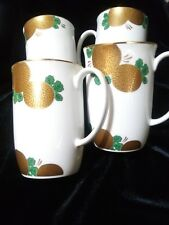 Rare Set of 4 Fitz And Floyd Fit26 Mugs Gold Flower Green Leaves Coupe Ff