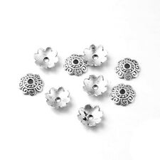 Wholesale Metal Alloy Bead Caps Antique Silver Flower 2x8mm 5 Packs Of 100+