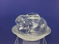 "Vintage Indiana, Crystal Glass Bunny Rabbit on a Nest Dish, 6.5"" x 5.25"" x 5"""