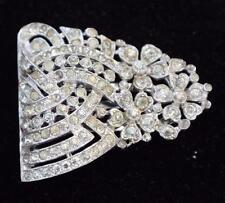Vintage 1937 Signed TRIFARI Crown Pat#107,139 Silvertone Rhinestones Fur Clip