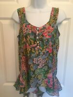 Anthropologie Lil Sz 6 Womens Floral Printed Sleeveless Peplum Button Scoop Top