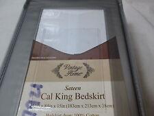 New Vintage Home Sateen Cal King Bedskirt 72x84x15 ~ White Nip