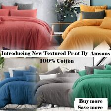 Queen Size Quilt Cover Set With Pillowcases Textured Print Cotton 4 Colours