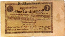 1923 Germany 1 Rentenmark Banknote - 1000000000000 Mark replacement