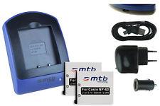 2x Baterìas + USB Cargador NP-60 NP60 para Casio Exilim EX-Z29, Z80, Z85, Z90