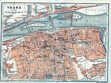 Antique map Tours Loire river France / carte 1908 kaart plan