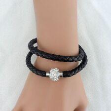 Bracelet cuir noir double tour-fermeture aimantée style shamballa avec strass