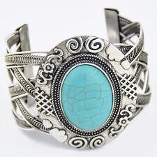 tibetan style retro oval turquoise cuff bangle bracelet gift Sl269
