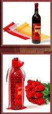 3 Flaschenbeutel Organza rot  gelb weiß Geschenkverpackung 3 Stück Organza Stoff