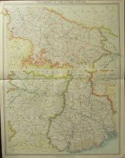 1922 LARGE ANTIQUE MAP ~ PROVINCES OF THE LOWER GANGES ~ BENGAL