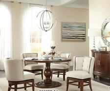 """ROUND 54"""" CHERRY PEDESTAL DINING TABLE & BARREL BACK SWIVEL CHAIRS FURNITURE SET"""