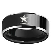 Dallas Cowboys Football Team Black Stainless Steel Rings for Men Women Size 6-13