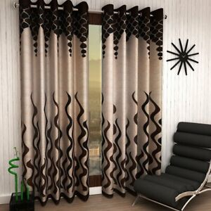 Door Curtains size 7ft in color Brown Set of 2 Curtains by Home Sizzler