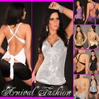NEW WOMENS SEXY SEQUIN TOP sz 8 10 12 LADIES EVENING WEAR PARTY WRAP SHIRT S M L
