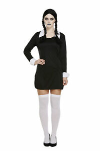 Halloween Adults Scary Daughter Fancy Dress Womens Costume Wednesday Adams