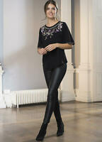 Black Viscose Jersey T shirt with Embroidery and Bead Embellishments Size 12/14