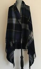 J.Crew Factory Plaid Wrap Blanket-Scarf In Navy Forest Ivory NWT