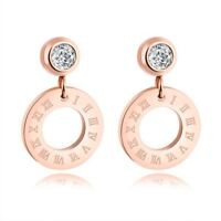 18K Rose Gold Roman Numerals Ear Studs Womens Titanium Steel Wedding CZ Earrings