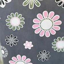 Flowers designed Scrub Large Grey V Neck Poly/Cotton FADED but wearable Short Sl