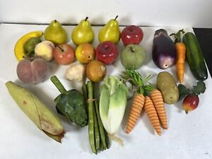 24 Piece Lot Of Faux Fake Fruits And Veggies Corn Pears Etc Lot 4