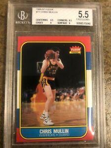 1986-87 Fleer Chris Mullin RC #77 BGS 5.5 EX+ (9,9,8.5) Warriors Rookie PSA 8?