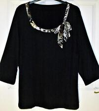 NEW QUALITY STRETCH BLACK TOP WITH ANIMAL PRINT TIE NECK DESIGN SIZE 22  # BX