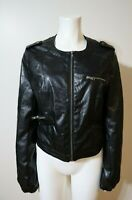 WOMEN'S BLACK FAUX LEATHER MOTORCYCLE JACKET - POETRY CLOTHING - SIZE L