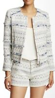 Joie Blue Zip Up Blazer Metallic Jacquard Tweed Tesita Jacket MSRP $378
