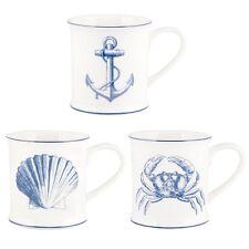 Sass & Belle Vintage Sea Anchor White Blue Mug Porcelain Nautical Seaside