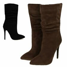 Mid-Calf Faux Suede Pull On Boots for Women