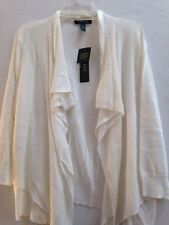 Womens LAUREN RALPH LAUREN 3/4 Sleeve Draped Open-Front Cardigan Pearl Sz XL