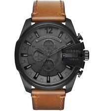 NEW Diesel Mega Chief Men's Brown Leather Strap Black Steel Case Watch DZ4463